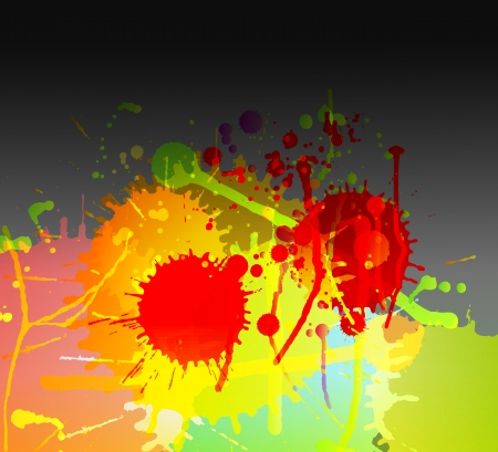 Colorful bright ink splashes on dark background vector Stock Vector - 15272103