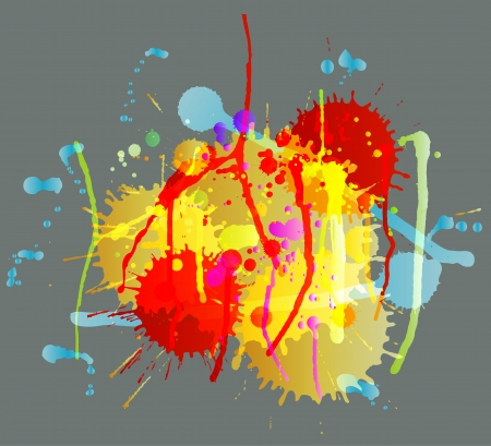 Colorful bright ink splashes on dark background vector Stock Vector - 15272127
