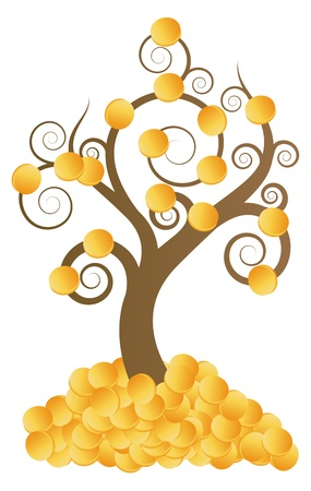Golden coins money tree vector background for poster Stock Vector - 15272120