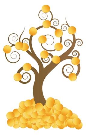 Golden coins money tree vector background for poster Stock Vector - 15272120