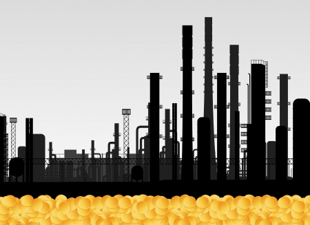 oil refinery: Oil factory and golden coins vector background concept