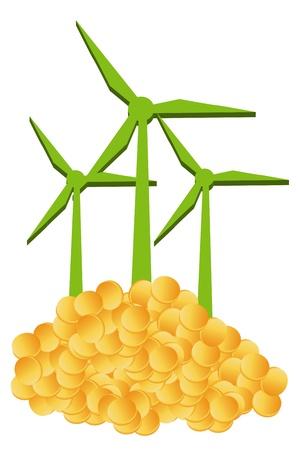 generating: Wind generator and money golden pile concept vector background Illustration