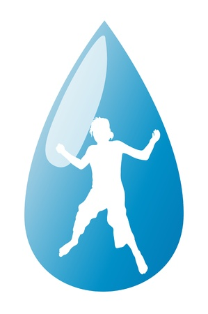 Conceptual happy jumping kid in blue water drop vector background Vector