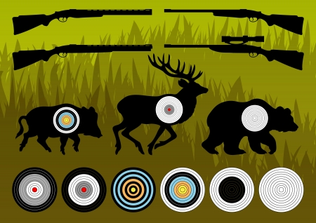 moose hunting: Shooting range wild boar, deer and bear hunting targets silhouettes illustration collection background vector