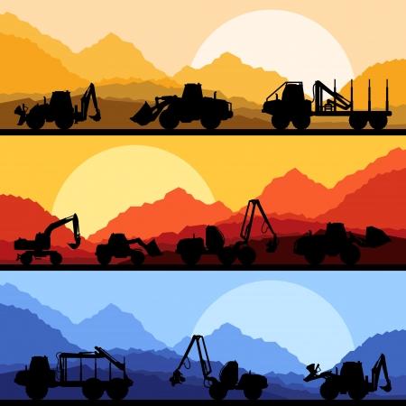 convoy: Highway truck selvaggia natura, paesaggio, illustrazione sfondo raccolta vettore sfondo Vettoriali