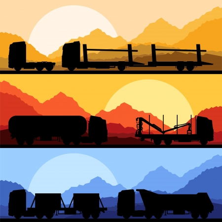 Highway truck wild nature landscape background illustration collection background vector Stock Vector - 15271532