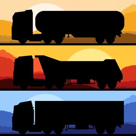 teherautók: Highway teherautó vad táj háttér illusztráció gyűjtés, háttér vektor