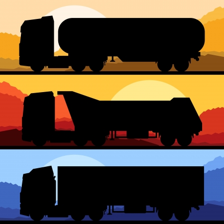 truck on highway: Highway truck wild nature landscape background illustration collection background vector