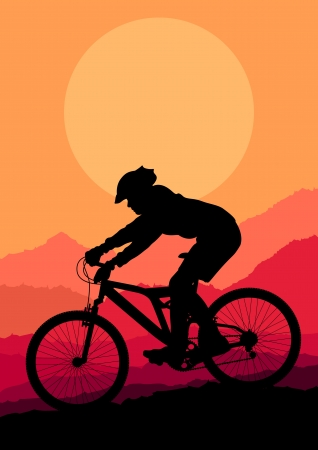 mountain biking: Mountain bike rider in wild mountain nature landscape background illustration vector