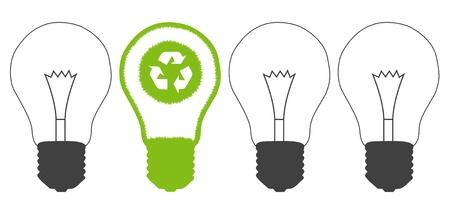 compact fluorescent lightbulb: Green grass light bulb and recycle round inside  Recycling concept vector background against pollution