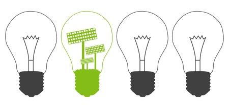 Light bulb and solar panel inside  Alternative energy concept vector background against pollution Stock Vector - 15271489