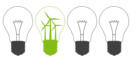 windpower: Light bulb and wind mill generator inside  Alternative energy concept vector background against pollution