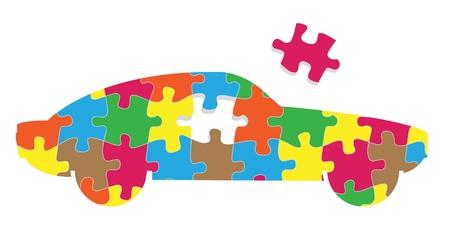 piezas coche: Rompecabezas de coches vector concept background