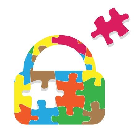 cadena rota: Bloqueo de seguridad candado salvaguardar vector rompecabezas concepto de fondo