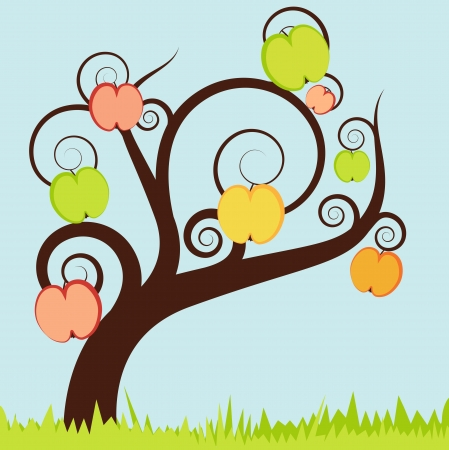 Apple tree vector background for poster Stock Vector - 15795053
