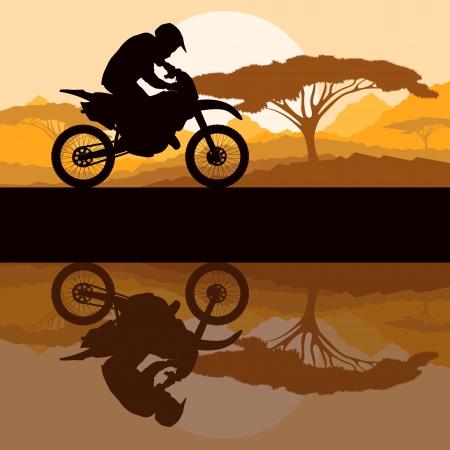 motorbike jumping: Motorbike rider motorcycle silhouette in wild mountain landscape background illustration vector Illustration