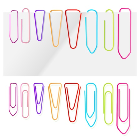 paperclip: Paper clip set vector background for poster Illustration