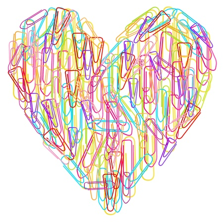 Colorful paper clips heart abstract vector isolated on white background Vector