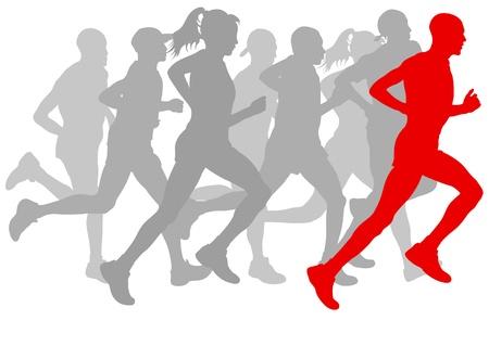 Zwycięzca tło wektor wykończenie i grupa biegaczy na plakacie
