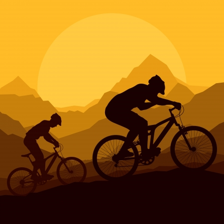 Mountain bike riders in wild mountain nature landscape background illustration vector Vector
