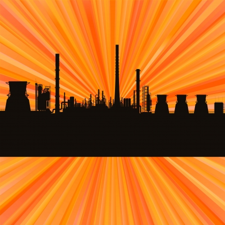 Oil refinery station background vector for poster Vector