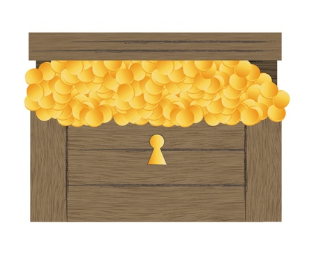 Vector illustration of treasure chest with gold coins vector background Vector