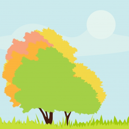 Trees detailed illustration collection background vector Stock Vector - 15794983