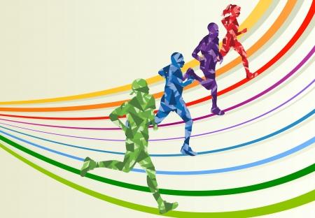 maratón: Běžci maratónu v barevné duhové krajiny pozadí obrázku Ilustrace