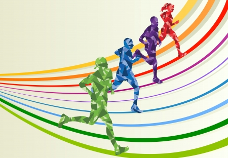 Marathon runners in colorful rainbow landscape background illustration