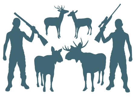 one man only: Hunter and deer vector background set