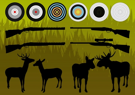 moose hunting: Shooting range wild deer, elk and moose silhouettes and guns illustration collection background vector
