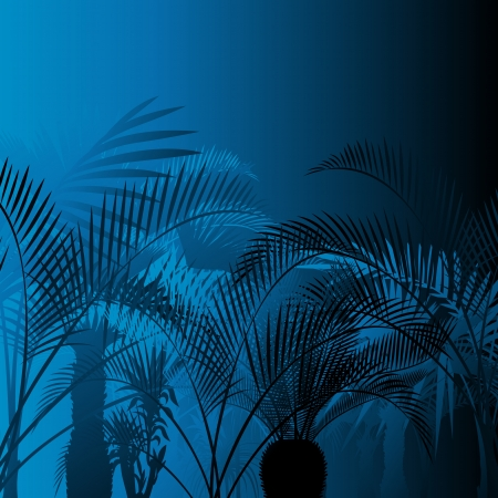 Tropical leaf rain forest background in night vector Vector