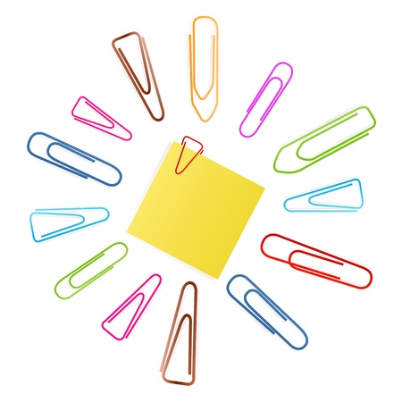 Paper clip set vector background with note paper