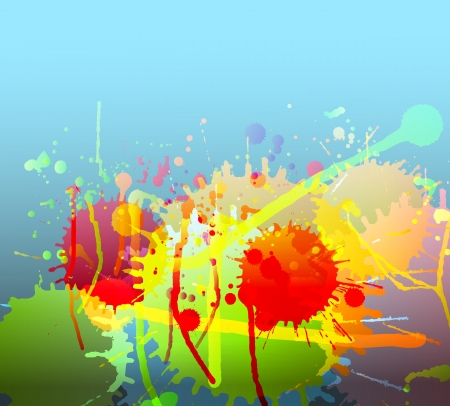 Colorful bright ink splashes background vector Vector