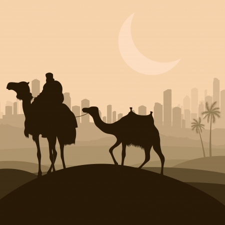 Camel caravan in arabic skyscraper city landscape illustration background vector Vector