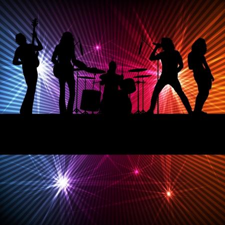 La banda de rock vector de fondo con luces de neón