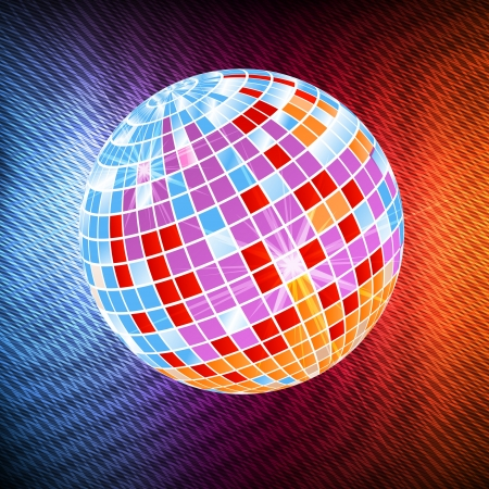 Neon disco ball abstract background vector Vector
