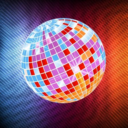 discoball: Neon disco ball abstract background vector