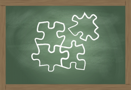 equation: Blackboard with puzzle vector solution concept Illustration