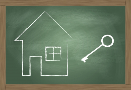 dwell house: House and key vector background safety and investment concept