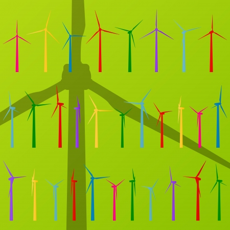 wind turbine: Wind electricity generators and windmills vector