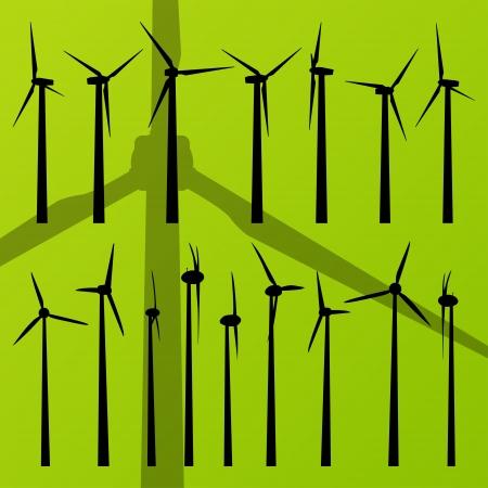 Wind electricity generators and windmills vector Stock Vector - 15795094