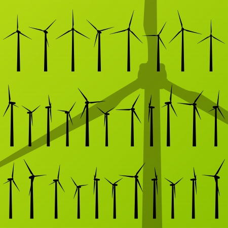 Wind electricity generators and windmills vector Vector