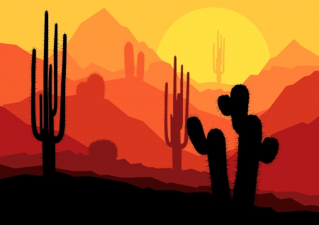western cartoon: Cactus plants in Mexico desert sunset vector background Illustration