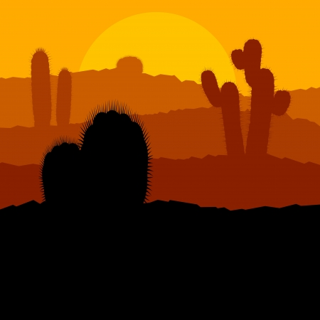 grand canyon: Cactus plants in Mexico desert sunset vector background Illustration
