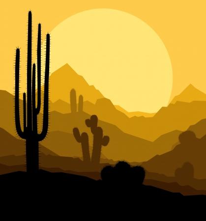 cactus desert: Cactus planten in Mexico woestijn zonsondergang vector achtergrond