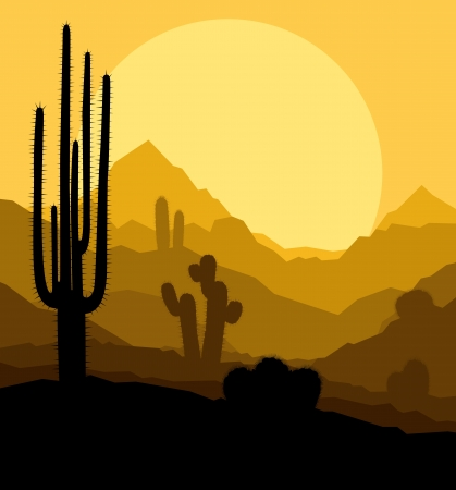 cactus desert: Cactus plants in Mexico desert sunset vector background Illustration
