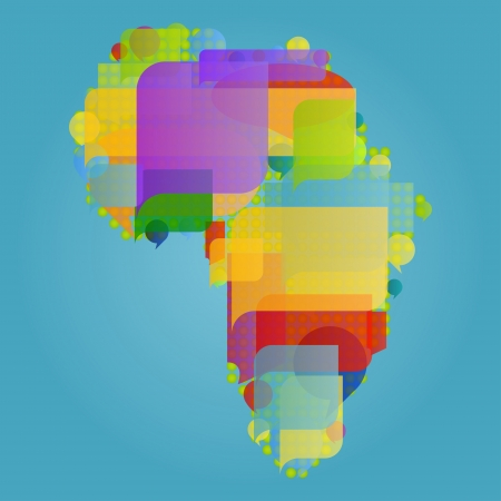Africa continent world map made of colorful speech bubbles concept illustration background vector Vector