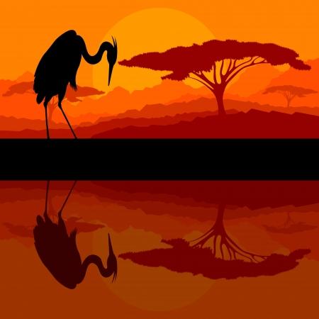 鷺鳥の野生の山自然風景の背景イラスト ベクトル シルエット 写真素材 - 16289228