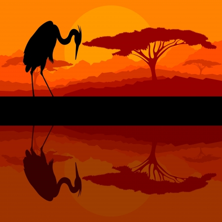 Heron bird silhouette in wild mountain nature landscape background illustration vector Vector